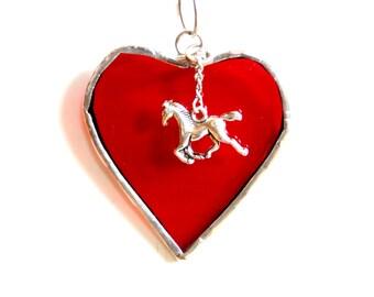 Red heart stained glass, I love horses, horse suncatcher, horse ornament, mini heart, horse lover gift under 15, ornament with hanger