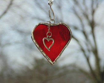 Mini heart suncatcher, stained glass heart art, heart gift under 15, bright red heart with charm, gift for her, Anniversary love romance