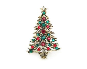 Vintage Hollycraft Christmas Tree Rhinestone Brooch - Red Rhinestones, Green Rhinestones, Gold Tone, Vintage Brooch, Vintage Jewelry