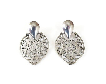 Sterling Silver Filigree Door Knocker Earrings - Door Knockers, Sterling Earrings, Dangle Earrings, Vintage Earrings, Vintage Jewelry