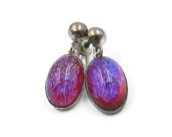 Sterling Silver Dragons Breath Drop Earrings - Purple Pink Glass, Fire Opal Glass, Dangle Drop Earrings, Vintage Earrings, Vintage Jewelry