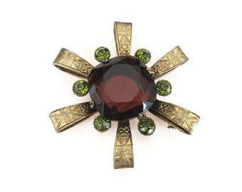Amber Glass Brooch, Green Rhinestones, Capri Brooch, Egyptian Revival, Vintage Brooch, Vintage Jewelry, Statement Jewelry