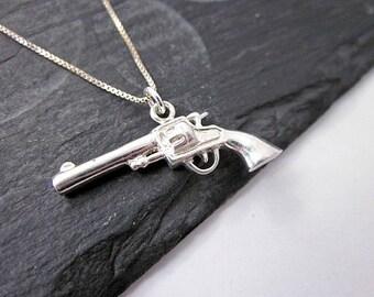 Sterling Charm Necklace -- Gun Necklace -- Gun Pendant Necklace -- Silver Gun Necklace -- Gun Charm Necklace -- Pistol Necklace -- Novelty