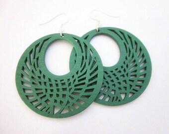 Green Hoop Earrings -- Laser Wood Earrings -- Large Green Earrings -- Green Wood Earrings -- Green Wood Hoops -- Green Hoops -- Wood Hoops