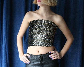 1970s Tube Top/ Black and Gold Sequined Midriff-Baring Disco / One Size / New Years Eve Shirt / Sequins / Sequence
