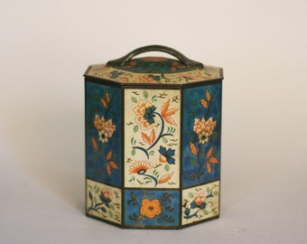 vintage decorative tin with lid