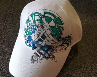 Custom hand drawn hats featuring unique abstract designs