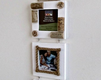 "Wine Cork and Twine Farmhouse Frames - 3 White Frames with Glass Inserts - 3"" x 3"" Photo Holders"