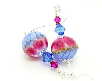 Pink Blue Earrings, Lampwork Earrings, Glass Earrings, Glass Bead Earrings, Beadwork Earrings, Floral Earrings, Glass Bead Jewelry