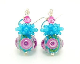 Blue and Pink Earrings, Lampwork Earrings, Glass Bead Earrings, Unique Earrings, Glass Art Earrings, Dangle Earrings, Bumpy Bead Earrings