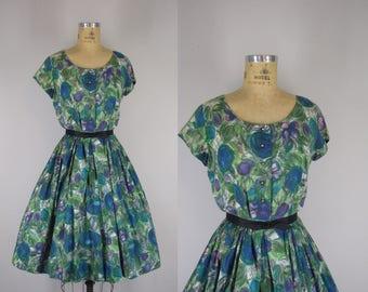 1950s Vintage Dress / 50s Painterly Blossoms Floral Cotton Dress