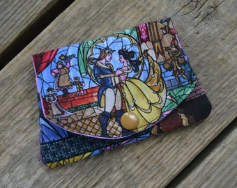 Disney's Beauty and the Beast Stain Glass Picture - grab-n-go credit card wallet