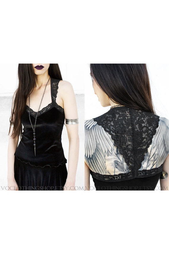 SCALLOPED LACE BACK cropped black camisole in stretch velvet or cotton/spandex
