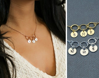 Circle Necklace • Interlocking Circle Charms • Personalized Initial Charms • Friendship Necklace • Minimal Circle Jewelry • Rose Gold Circle