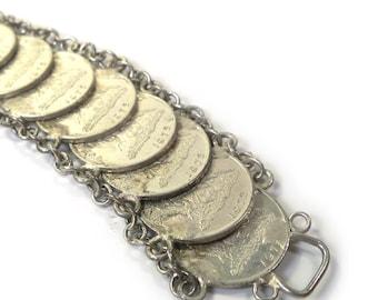 Vintage 1975 Trinidad and Tobago 1 Cent Souvenir Coin Charm Bracelet