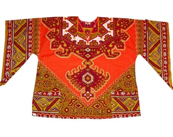 Vintage 70s Ethnic COLORFUL Dashiki Shirt Tunic size Large Angel Wings Ladies Hippie Shirt XL