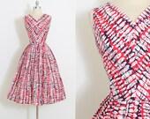 Vintage 50s Dress | 1950s dress | cotton abstract print | medium | 5879