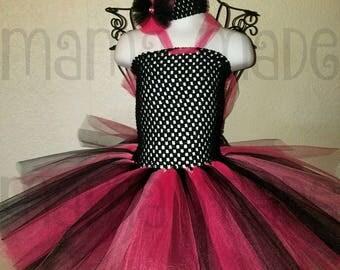 Punk Rocker Girl tutu dress,Pink and Black Tutu Dress with matching hair accessory,flower girl dress, flower girl tutu dress,tutu