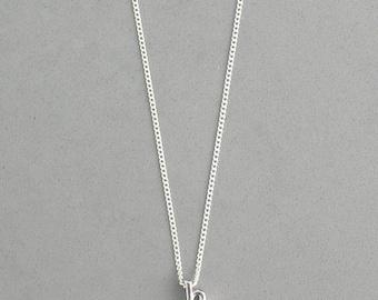 Rhodium Initial h Necklace