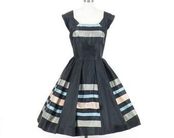SALE 50s Party Dress, Vintage 1950s Dress, Striped Satin Full Skirt Dress, Paul Sachs Original