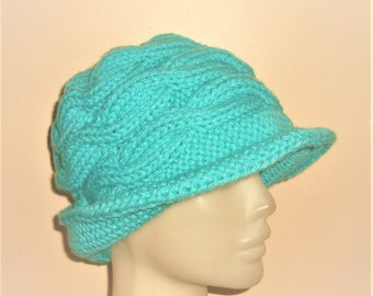 Knitted womens winter hat aqua, with brim, green, visor, fedora, cable knit turquoise womens hats - aqua - turquoise gifts