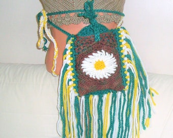 Daisy and fringe hippie bag crochet hippie gifts belt bag waist bag crochet festival bag