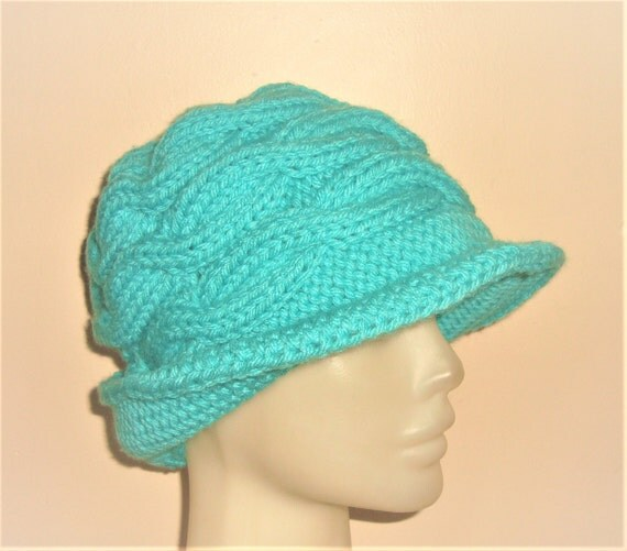 Hand Knitted Hats for Women's Gift|for|Her Turquoise Hat Womens Winter hat Wide Brim Hat Winter Accessories Womens Hats Winter Hat
