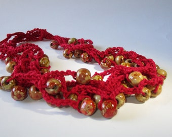 Red Henna Wood Beaded Multi Strand Crochet Necklace, Wood Bead Necklace, Layered Statement Necklace