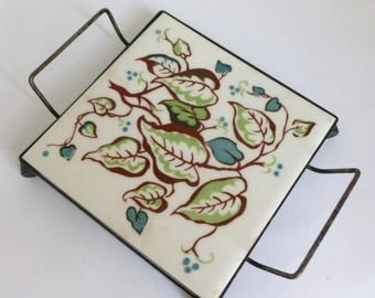 Mid Century 1950's Ceramic Tile Trivet with Metal Footed Carrier IVY Pattern