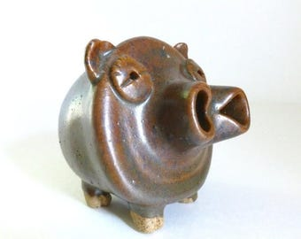 Vintage 1970's Handmade Clay Pottery Piggy Bank