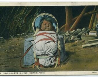 Pueblo Native American Indian Papoose Baby 1933 postcard