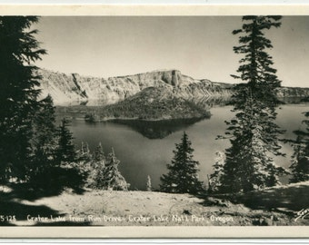 Crater Lake from Rim Drive National Park Oregon 1947 RPPC real photo postcard