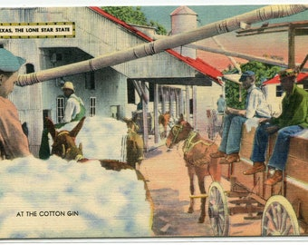 African American Workers At Cotton Gin Mill Texas linen postcard