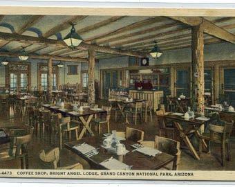 Coffee Shop Interior Bright Angel Lodge Grand Canyon National Park Arizona 1947 linen postcard