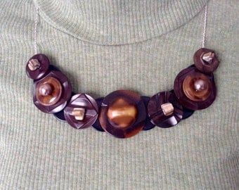 Breath Taking in Brown button necklace