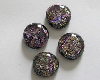 Four Uncalibrated, round, Dichroic glass cabochons, approximately 16mm to 17mm