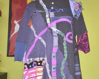 Blue and gray collage tee tunic fits L XL