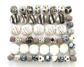 Kazuri Beads, 50 Kazuri Beads, Black Grey and White Ceramic Beads, Kazuri African Beads