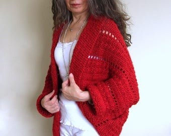 "Crochet Shrug PATTERN / Cocoon Cardigan Sweater / PDF / Made in Canada / ""Celebration Shrug"""