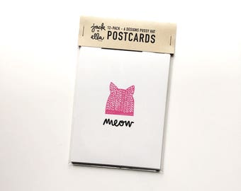 Pussy Hat 12-pack Postcards #pussyhat 6 different designs