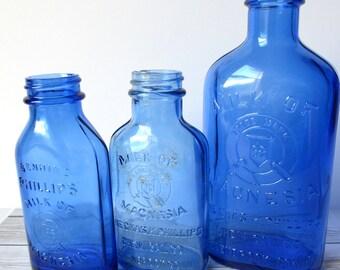 VINTAGE - Phillips Milk of Magnesia Medicine Bottles Lot - Cobalt Blue