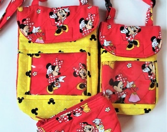 Quilted Disney Minnie Mouse Cross Body Purse,Mini or Regular Pouch,Minnie Mouse Coin Purses,Your Choice,RTS,Neck Lanyard or Shoulder Pouch