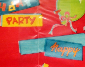 2 Sheet Package Vintage Happy Birthday Red Wrapping Paper Party Balloons Retro Gift Wrap Unisex Two Sheets Sealed New Made in USA