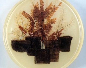 "Vintage Lucite Hot Plate Acrylic Kitchen Trivet 12"" Large Baskets and Ferns Brown Ivory"