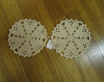 "Set of two small doilies 7"" circular medium weight beige thread"