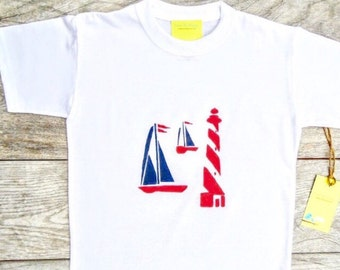 Kids - Children - Nautical Sail Boat - Red and Navy Blue  - Toddler T-Shirt or Baby Onesie