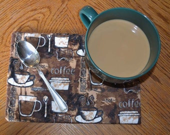 Mug Rugs 7x10 Inches 100% Cotton Flannel with cotton batting in the middle- Coffee Lovers