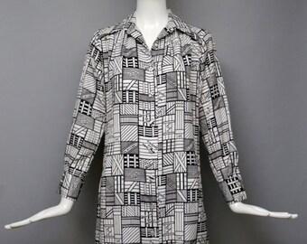 20% OFF 70s novelty print LANVIN Paris cute crate design shift shirt DRESS 1970s vintage 8