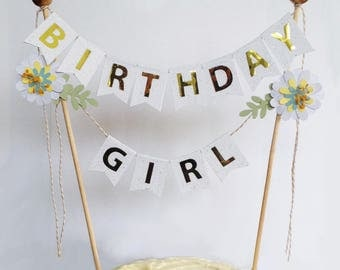 Cake topper garland for girl birthday party