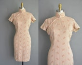 r e s e r v e d....1950s beige cheongsam vintage floral dress. 50s dress /  vintage 1950s dress